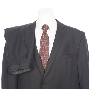 Calvin Klein Two Button Black Wool Dual Vent Suit